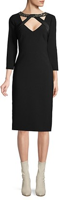 Theia Embellished-Neck Sheath Dress