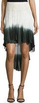 Haute Hippie Ombre High-Low Skirt W/Fringe, Buff/Swan/Dark Military