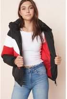 Garage FINAL SALE - Colourblock Puffer Jacket Black/White/Red