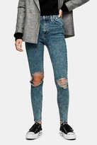 Topshop Indigo Acid Rip Jamie Skinny Jeans