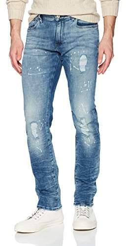 129fea50 A|X Men's Mid-Rise Paint Splattered 5 Pocket Jeans