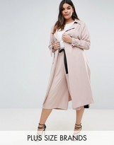 Elvi Premium Trench Coat With Contrast Stripe