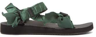 Arizona Love - Trekky Satin-wrapped Velcro-strap Sandals - Womens - Green
