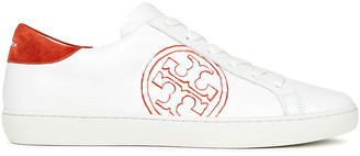 Tory Burch Suede-trimmed Printed Leather Sneakers