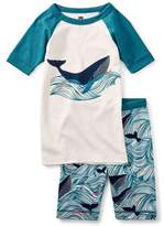 Tea Collection Wavy Whale Fitted Two-Piece Short Pajamas