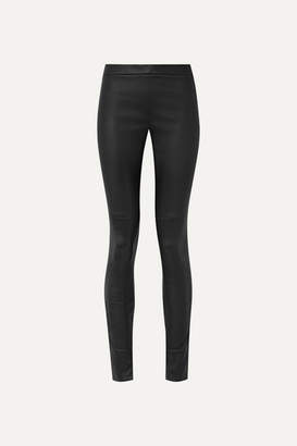 Akris Fria Leather Skinny Pants - Black