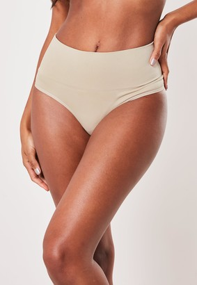 Missguided Nude High Waist Control Thong Knickers