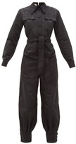 Gucci Belted Moire Jumpsuit - Womens - Black