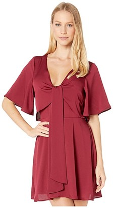 BCBGeneration Day Tie Front Open Back Dress TIR6229278 (Deep Red) Women's Dress