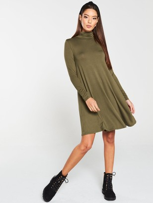 Very Roll Neck Fit & Flare Dress - Olive