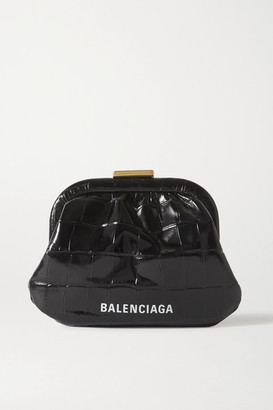 Balenciaga Cloud Printed Croc-effect Leather Pouch - Black