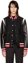 Givenchy Black Wool and Leather Bomber Jacket