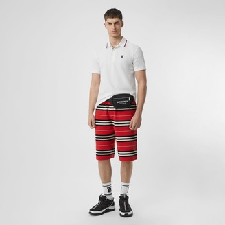 Burberry Icon Stripe Placket Cotton Pique Polo Shirt