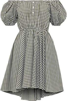 Caroline Constas Bardot Off-the-shoulder Gingham Cotton-poplin Mini Dress