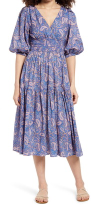 Ten Sixty Sherman Paisley Print Ruffle Dress