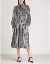 Co Neck-tie polka dot-print silk midi dress