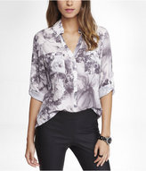 Express Shadow Floral Convertible Sleeve Portofino Shirt