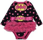 Warner Bros. Baby Girls' Batgirl Tutu Onesie - with Pink Hearts, Long Sleeves (3-6 Months)