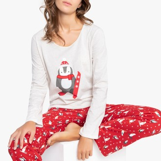 La Redoute Collections Long-Sleeved Christmas Pyjamas with Penguin Print