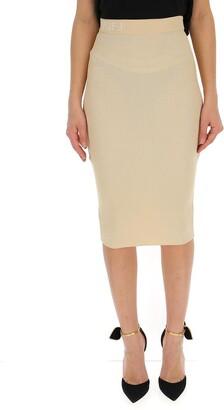 Fendi Logo Ribbed Pencil Skirt