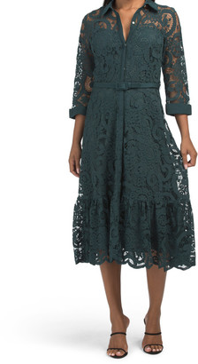 Lace Midi Shirt Dress