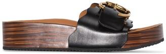 Chloé Lauren buckle leather flat sandals