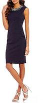 Vince Camuto Embellished Round Neck Extended Cap Sleeve Solid Dress