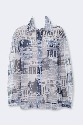 Forever 21 Sheer Newspaper Print Jacket