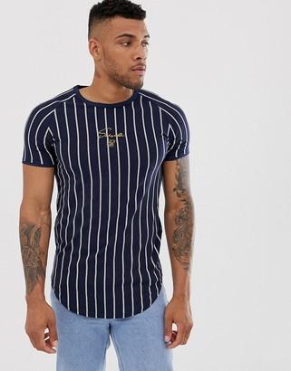 SikSilk muscle t-shirt in navy stripe