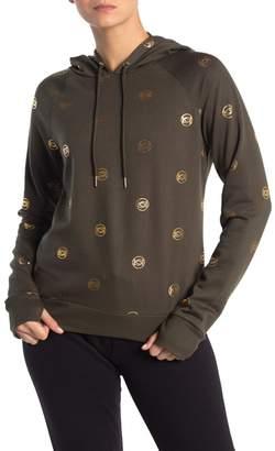 Bebe Allover Mini Logo Pullover Sweatshirt