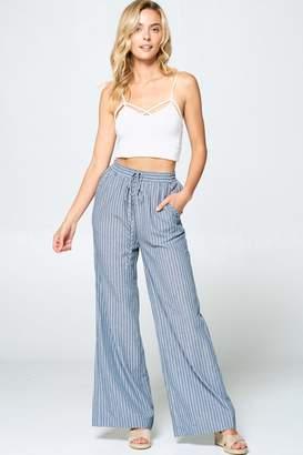 Cotton Bleu Striped Wide Leg Cotton Pants