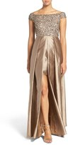 Adrianna Papell Women's Embellished Bodice Off The Shoulder Gown