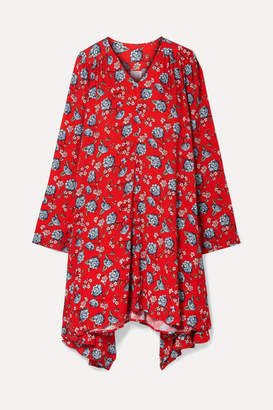 Vetements Oversized Floral-print Crepe Dress - Red