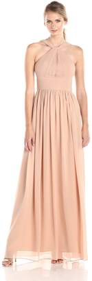 Donna Morgan Women's Halter Gathered Waist Gown