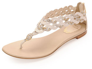 Rene Caovilla Crystal Strap Thong Sandal, Ivory/Champagne