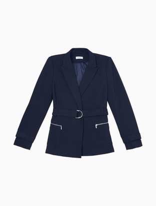 Calvin Klein Solid Peak Lapel Belted Jacket