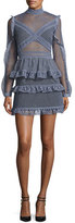 Self-Portrait Dot-Lace Tiered Mini Dress, Dove Gray