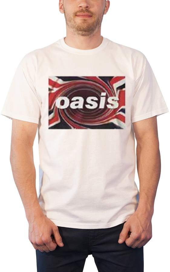 Oasis T Shirt Union Jack Swirl Band Logo Official Mens New