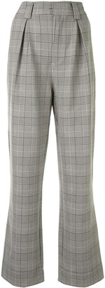 Ganni Checked Straight-Leg Trousers