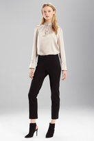Josie Natori Stretch Silk Mandarin Collar Top