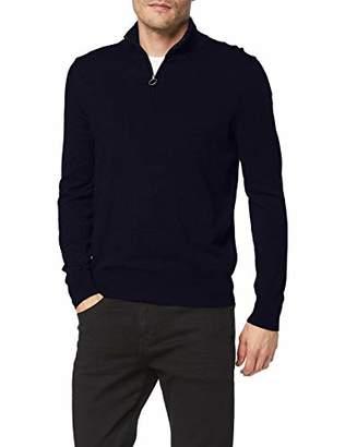 North Sails Men's Half Zip Cotton Wool Kniited Tank Top, (Dark Grey Melange 935.0)