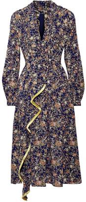Adam Lippes Fringe-trimmed Metallic Floral-print Silk-georgette Midi Dress