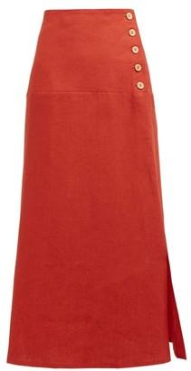 Belize - Elvira Buttoned Linen Midi Skirt - Red