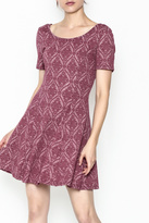 Everly Patterned Deep Pink Dress