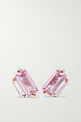 Suzanne Kalan 18-karat Rose Gold, Sapphire And Diamond Earrings - one size