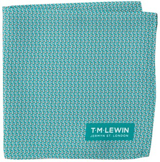 T.M.Lewin Silk Basket Weave Print Pocket Square