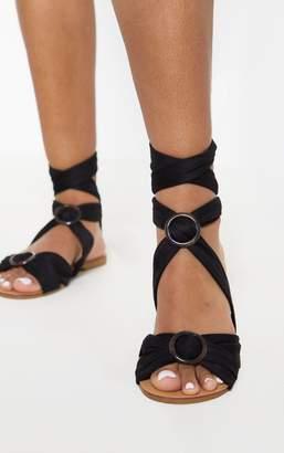 PrettyLittleThing Black Tortoise Ghillie Lace Up Sandal