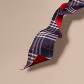 Burberry Oversize Check Cashmere and Block-colour Scarf