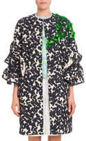 DELPOZO Ruffle-Sleeve Jacquard Mid-Thigh Coat