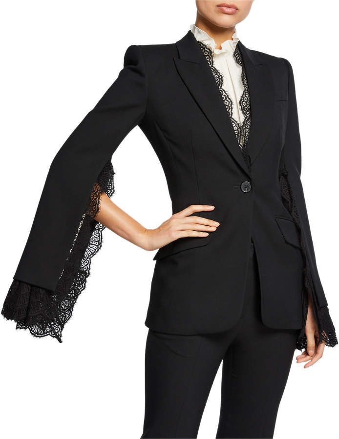 520aa528e78c9 Blazer With Lace Sleeves - ShopStyle